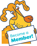 a doggy holding up a become a member sign a little higher than before