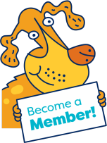 a doggy holding up a become a member sign