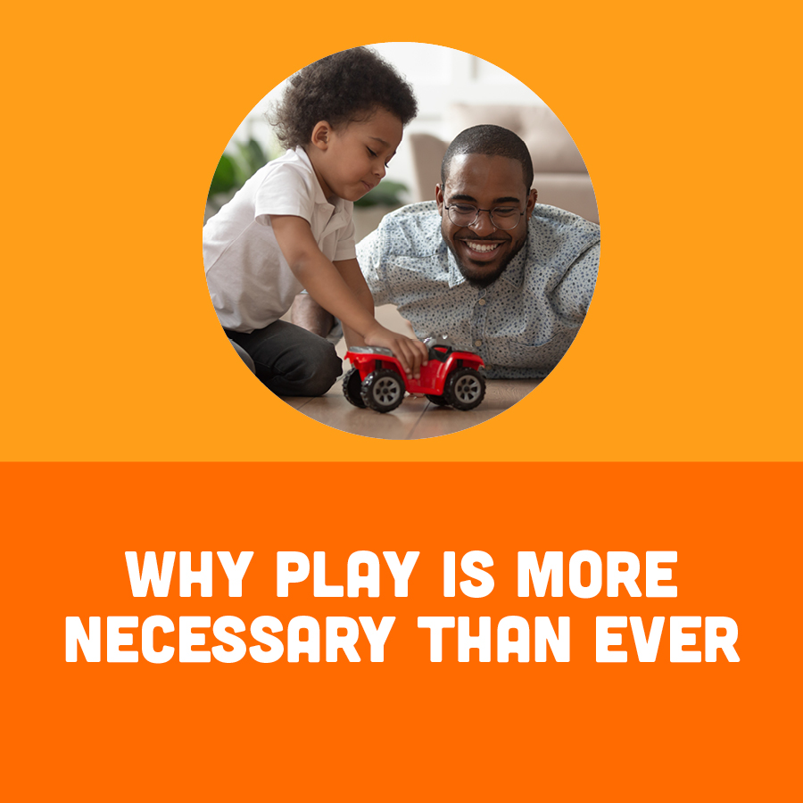 Man with Children with Text Why Play is More Necessary Than Ever
