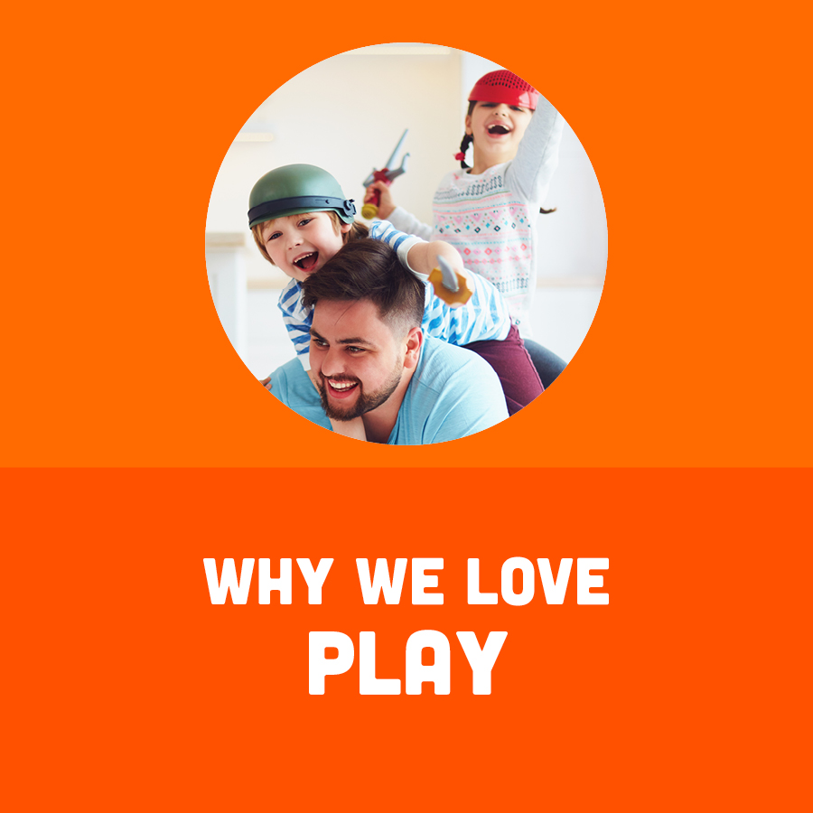 Adult with two children with the text Why We Love Play